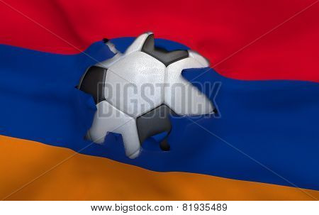 The Hole In The Flag Of Armenia And Soccer Ball