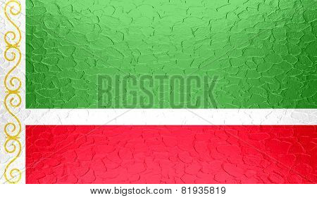 Chechen Republic flag on metallic metal texture