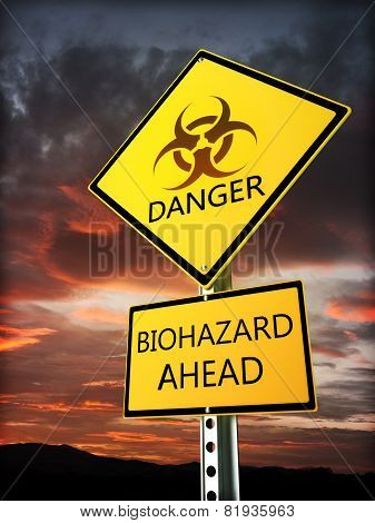 Warning bio hazard sign posted near the danger zone.