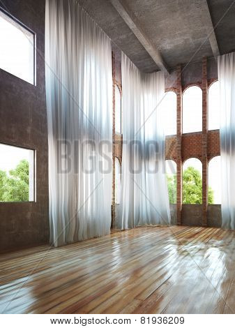 Empty room interior with rustic accents and curtains. 3d interior rendering