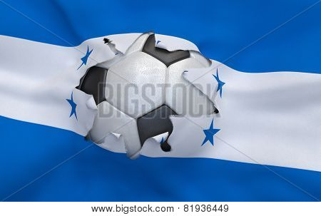 The Hole In The Flag Of Honduras And Soccer Ball