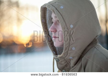 young man in winter
