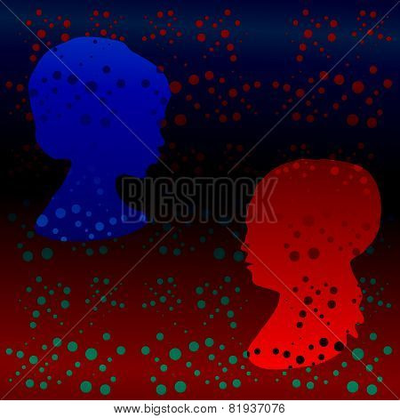 Retro polka dot pattern with stylized girl profile head