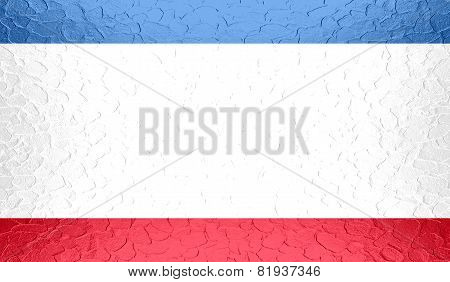 Autonomous Republic of Crimea flag on metallic metal texture