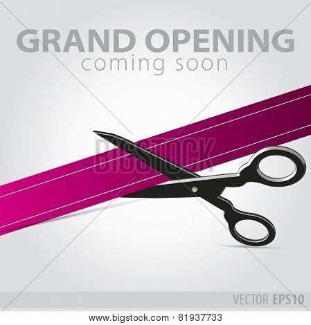 Shop Grand Opening - Cutting Purple Ribbon