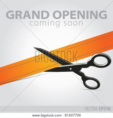 Shop Grand Opening - Cutting Orange Ribbon