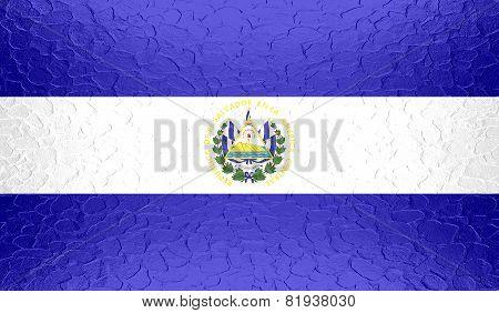 El Salvador flag on metallic metal texture