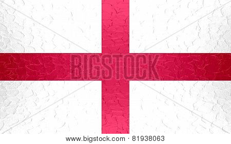 England flag on metallic metal texture