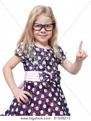 Strict Beautiful Little Girl In Glasses Showing Finger Isolated