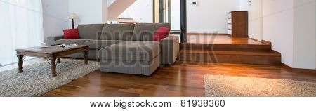 Grey Sofa Inside Spacious Interior
