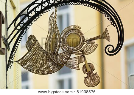 Metal Mail Angel With Fife And Violin In Slovakia