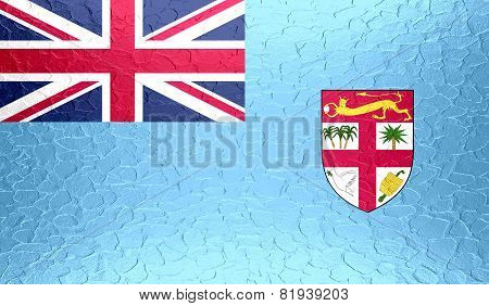 Fiji flag on metallic metal texture