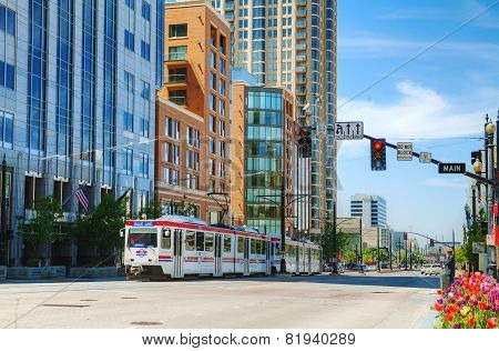 Salt Lake City Street With A Tram
