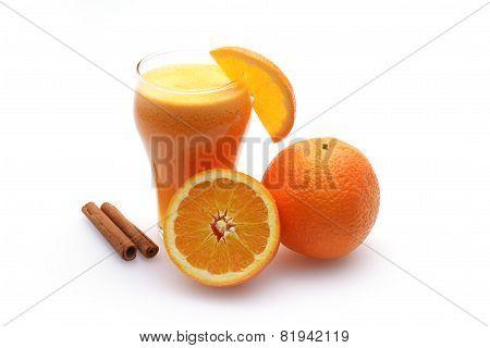 Orange Juice And Slices Of Orange On White