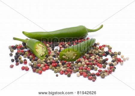 Pepper And Pepper Spice On White Background