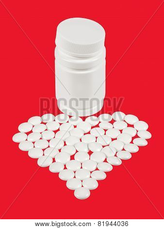 Tablets Are Scattered In The Form Of Heart