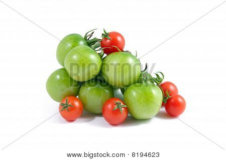 Bright Red And Green Tomatoes