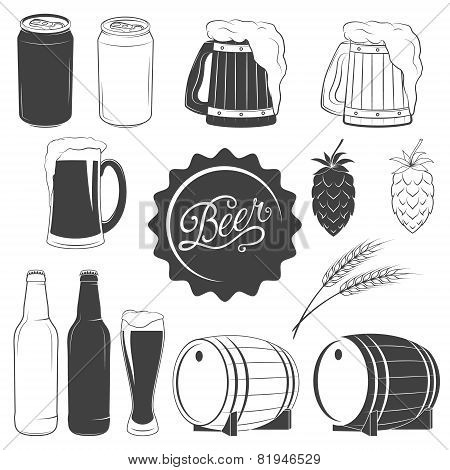 Vector beer monochrome icons set