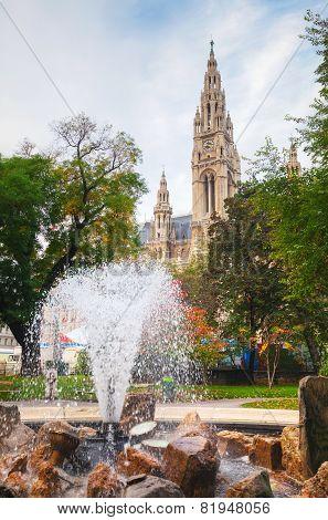 Fountain Near Rathaus (cityhall) In Vienna