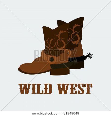 vector cowboy boots wild west