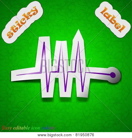 Cardiogram Monitoring Icon Sign. Symbol Chic Colored Sticky Label On Green Background. Vector