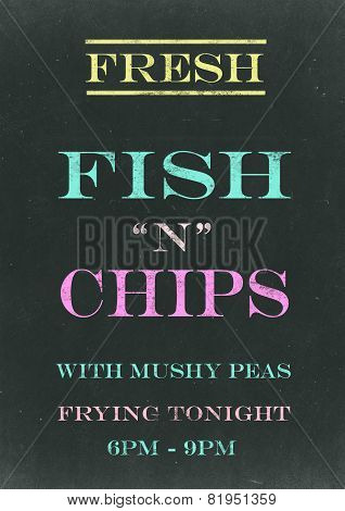 Fish N Chips on Srached Chalkboard