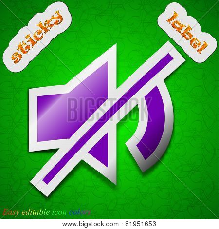Mute Speaker Icon Sign. Symbol Chic Colored Sticky Label On Green Background. Vector