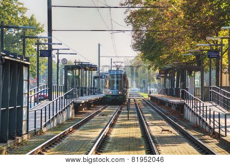 Tram On The Street Of Hanover