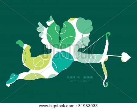 Vector abstract green circles shooting cupid silhouette frame pattern invitation greeting card templ