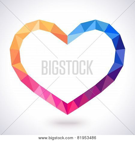 Romantic polygonal heart frame. Vector illustration for lovely