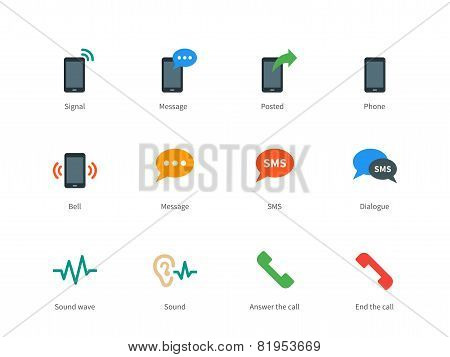 Phone colored icons on white background.