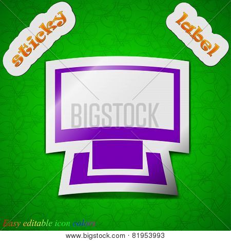 Computer Widescreen Icon Sign. Symbol Chic Colored Sticky Label On Green Background. Vector