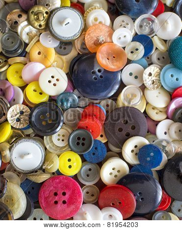 Backroud Of Colorful Sewing Buttons