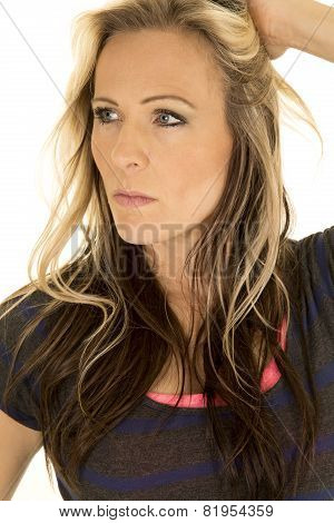 Woman Head Close Hand In Hair Look To Side