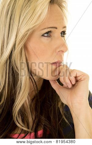 Woman Head Close Hand On Chin Look Side