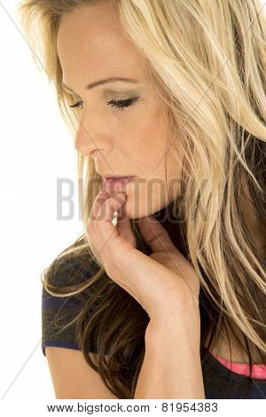 Woman Head Close Hand On Chin Looking Down