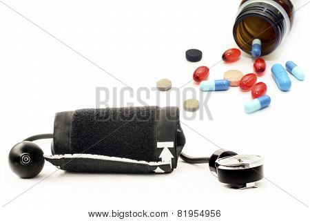 Blood Pressure Monitor And Various Pharmaceutical Preparations