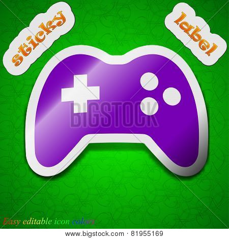 Joystick Icon Sign. Symbol Chic Colored Sticky Label On Green Background. Vector