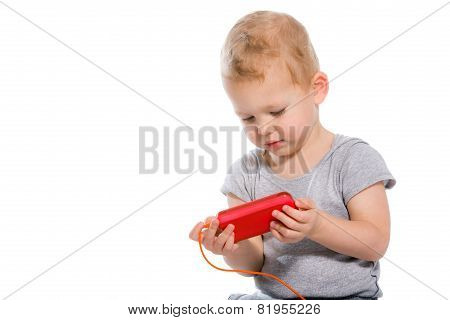 Child using a mobile phone