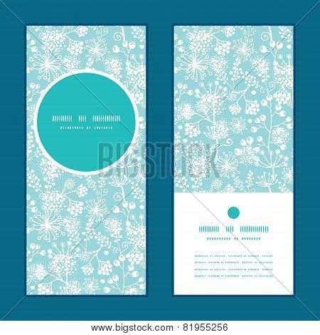 Vector blue and white lace garden plants vertical round frame pattern invitation greeting cards set