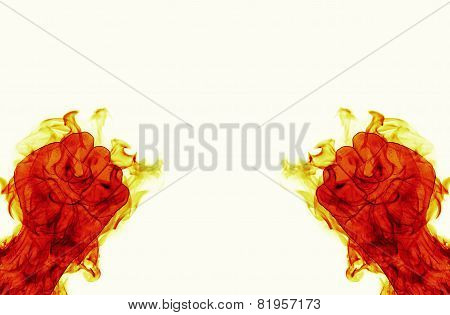 Two Fire Flames Fist Ready To Fight On Black Backround