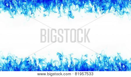 Blue Fire Frames On White Background