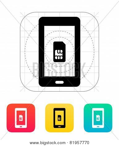 Mobile phone SIM card icon.