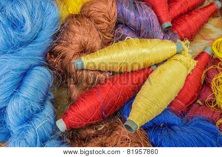Group Of Raw Silk Thread And Messaline