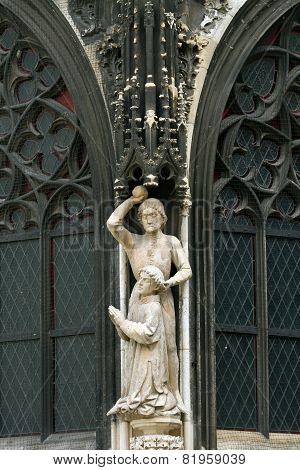 Statue On The Wall Of St. Stephen's Cathedral In Vienna
