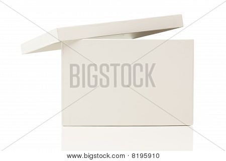 Blank White Box With Lid On White