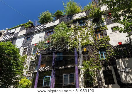 Hundertwasser House In Vienna, Austria, Under The Bright Sky