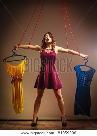 Addicted To Shopping Woman, Marionette On String.