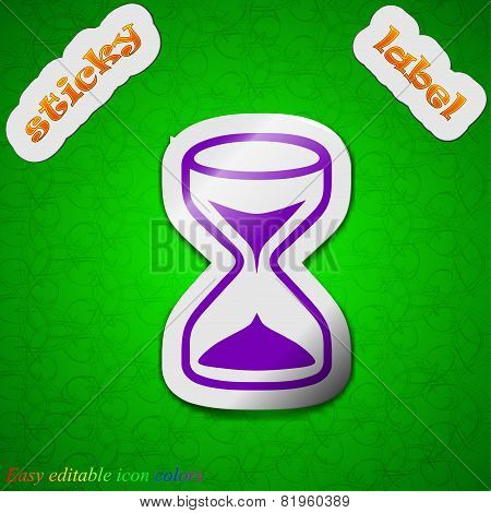 Hourglass Icon Sign. Symbol Chic Colored Sticky Label On Green Background. Vector
