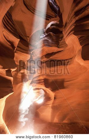 Antelope Canyon Seen With Rays Of Sunlight Coming From Ceiling.